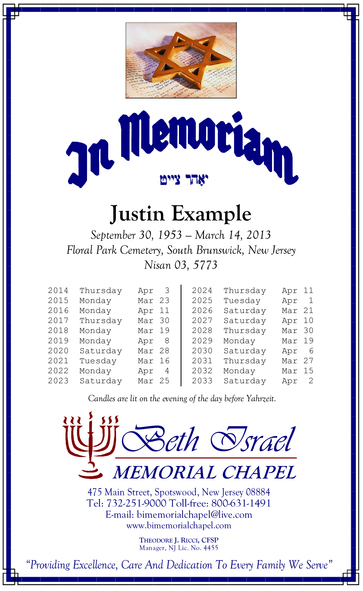 Beth Israel Memorial Chapel: Affordable Jewish Funeral